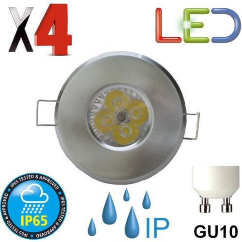 4 X LED IP65 BATHROOM DOWNLIGHT 6 WATT GU10 240V BRUSHED CHROME SHOWER ENSUITE