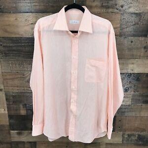 Ermenegildo-Zegna-Men-039-s-Pink-Stripe-Cotton-Linen-Blend-Long-Sleeve-Button-Up