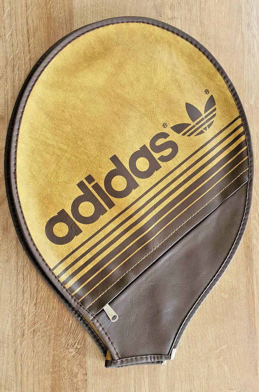 Adidas Etui Housse + poche Marron logo Marron raquette de Tennis Vintage