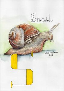 Snail-ABC-series-original-Gala-Kostroma-watercolor-animal-alphabet-painting
