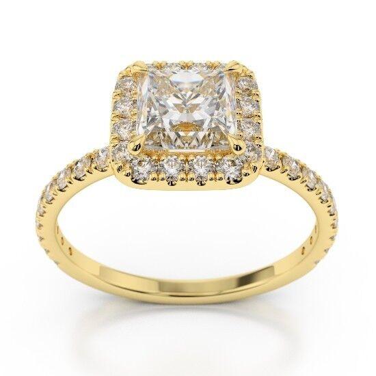 14k Yellow gold 1.27 Ct Princess Diamond Engagement Wedding Ring Size 5 6