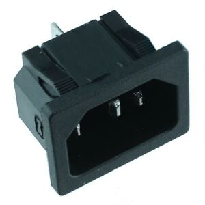 C14 Snap-Fit IEC Chassis Inlet Connector