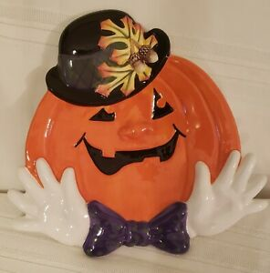 Fitz & Floyd Fall Halloween Derby Pumpkins Canape' Plate Bow Tie Purple GLOVES