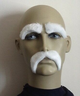 White Fancy Dress Droop Moustache /& eyebrows
