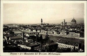 Firenze-Florenz-Italien-Toskana-1933-Panorma-dal-Piazzale-Michelangelo-gelaufen