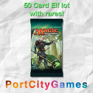 FREE bonus Rares /& Booster Packs! 50 Card Elf lot Elves Magic MTG w// Rares