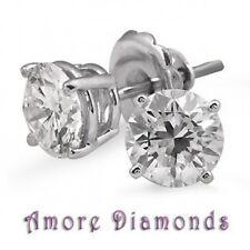 2.28ct DE SI natural round diamond 4prong stud earrings 18k white gold push back