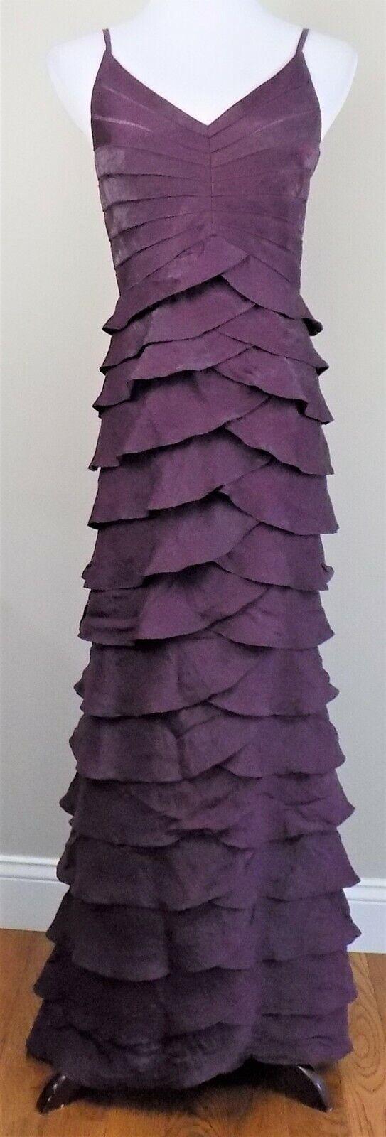 ADRIANNA PAPELLSz 6Shutter PleatTieredShimmer PurpleLinedLongFormal Dress