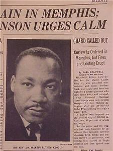 VINTAGE NEWSPAPER HEADLINE ~DR MARTIN LUTHER KING DEATH ...