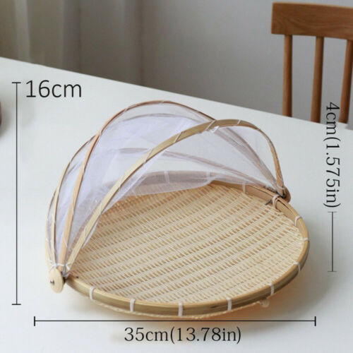 Bamboo Woven Bug Proof  Wicker Basket Dustproof Dishes Cover With Gauze Handmade