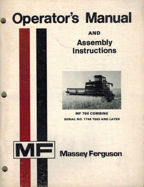 Massey Ferguson 760 Combine Operators Manual Ebay