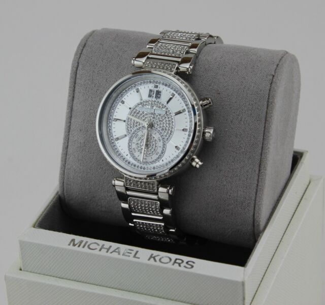 NEW AUTHENTIC MICHAEL KORS SAWYER CRYSTALS SILVER WOMEN'S MK6281 WATCH