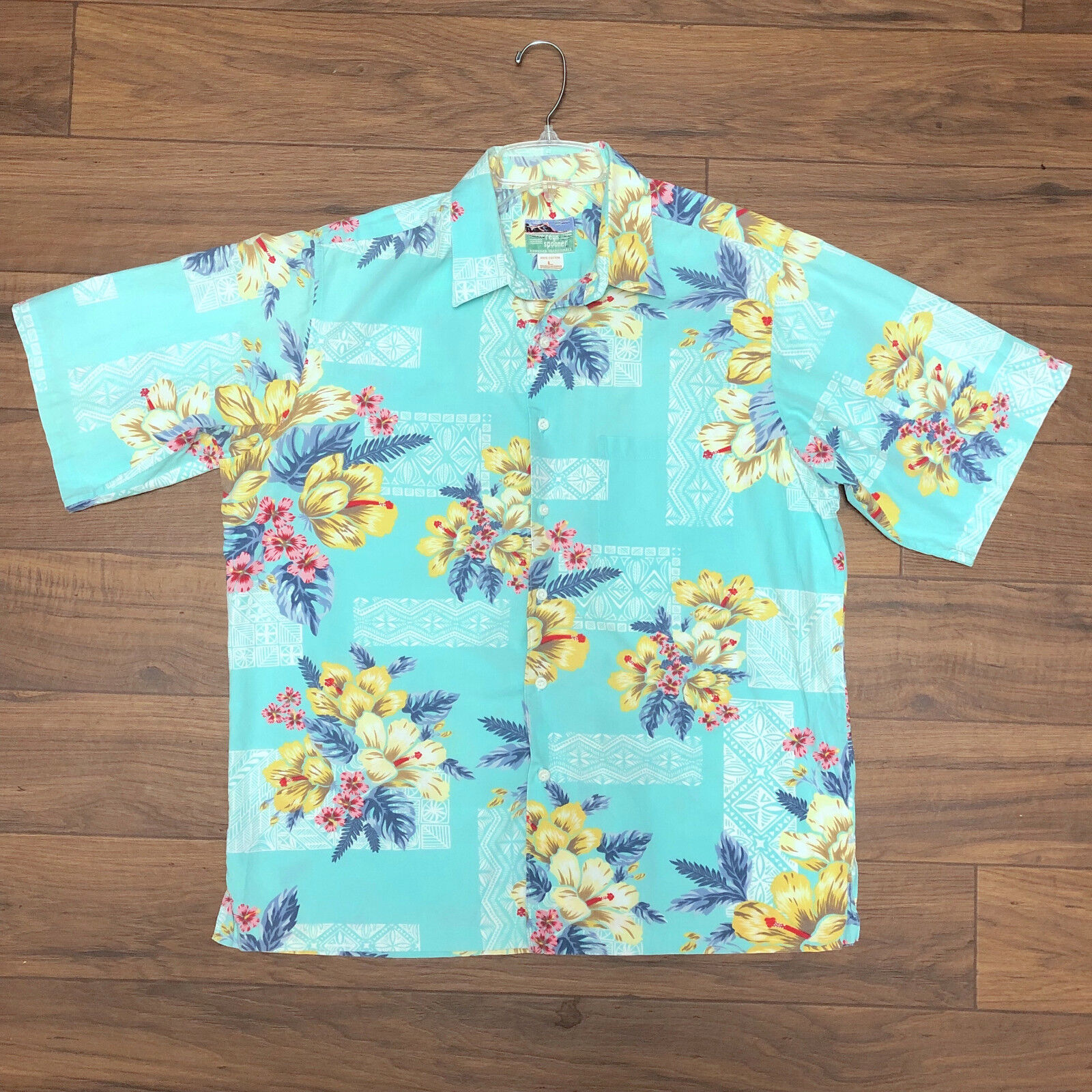 Reyn Spooner Hawaiian Floral Flowers Tiki Teal Green Button Shirt Men's - LARGE