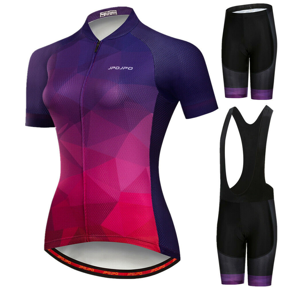 JPOJPO Women Polyester Cycling Jersey Bicycle Bib Shorts With 3D Gel Pad