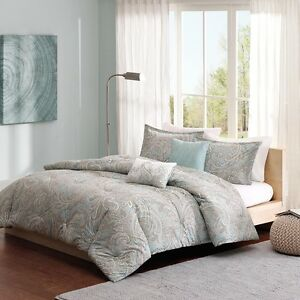 Beautiful Cotton Soft Blue Grey Paisley Comforter 5 Pc Set Cal