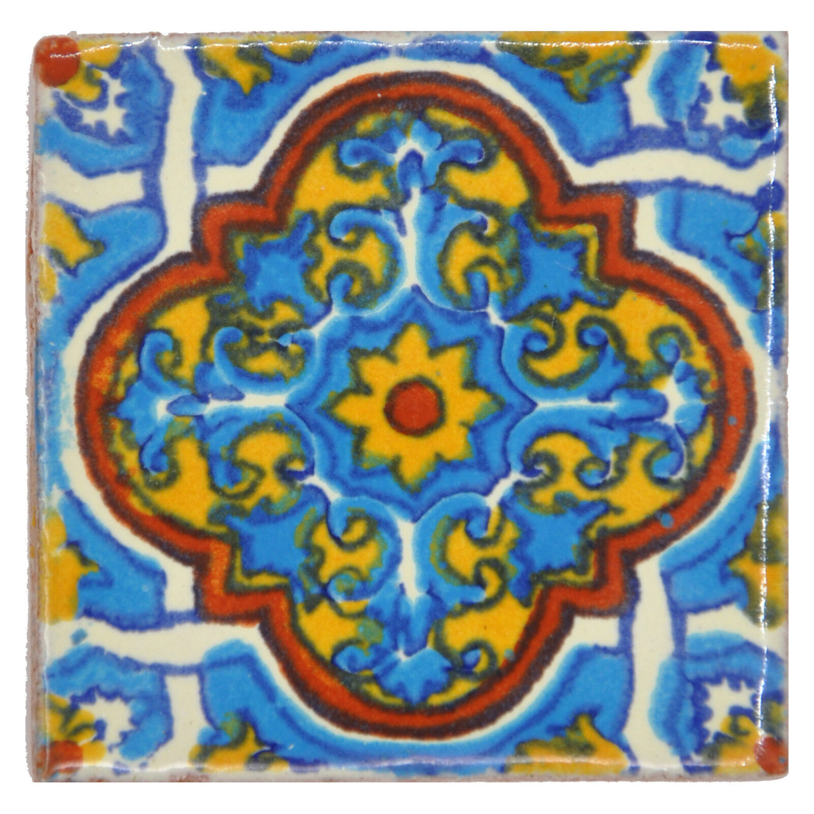 Fairly Traded Handmade Ceramic Mexican Talavera Tile 5cm - Valentina
