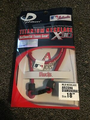 "*NEW* Phiten 18/"" Arizona Diamondbacks Titanium Multi Sport Necklace X30"