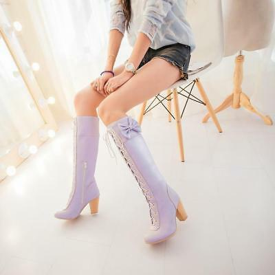 Retro Women/'s Lolita Lace Up Knee High Cute Bowknot High Chunky Heels Boots New