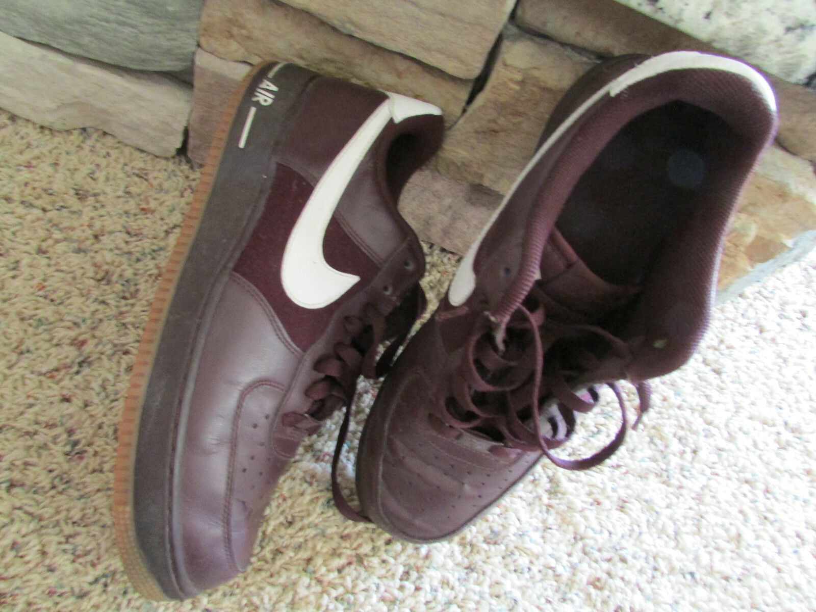 NIKE AIR FORCE 1 SNEAKERS SHOES MENS 11 BURGUNDY LEATHER 315122