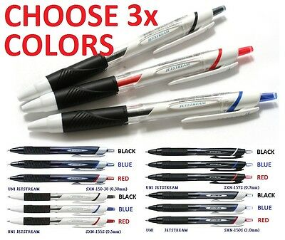 3x Uni-Ball Jetstream Pen CHOOSE COLORS Black Blue Red SXN 150 38 157S 155S 150S