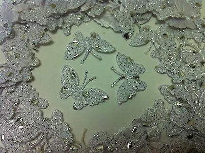 20 ! White Fabric Glittery Dotted Butterflies for Card, Scrapbooking and Wedding