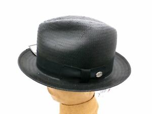 1eed88b6ea Details about NEW Vintage Men's Hat Bailey of Hollywood Suntino Dri-Lex  Black Straw Fedora XL