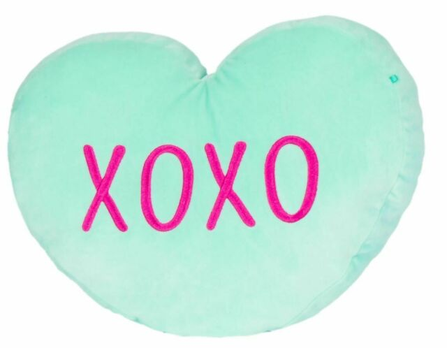 Kellytoy Squishmallow Valentine Candy Heart Messages Pillows (12 Inches, Teal)