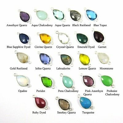 Gemstone Connectors Jewelry Making, Silver Connectors 2Pcs Emerald Connectors