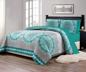 Fancy-Linen-Over-Sized-Quilt-And-Sheet-Set-Turquoise-034-Gray-Green-034-All-Sizes-New