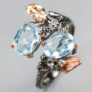 Natural-Design-Natural-Blue-Topaz-Ring-Sterling-silver-925-Thail-Vintage-RVS339