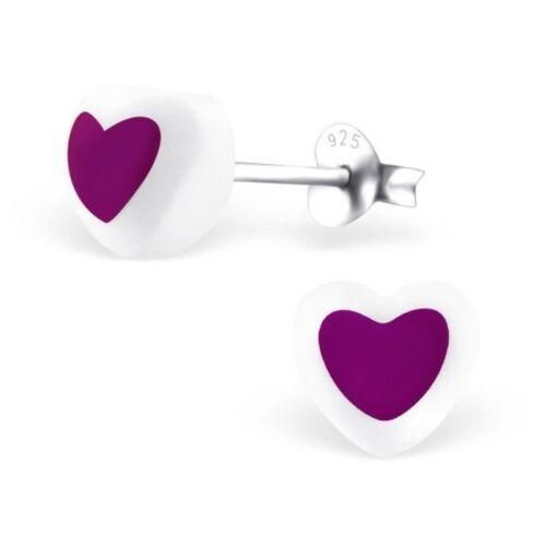 Boxed Childrens Girls Sterling Silver Heart Stud Earrings