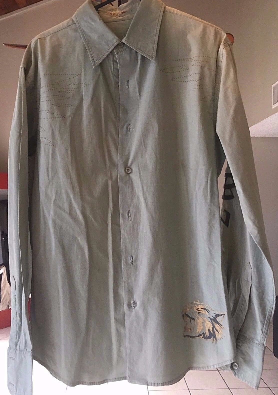 Raw 7 Men's Long Sleeve Button Front Shirt size M