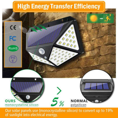 114LED Solar Power PIR Motion Sensor Wall Light Outdoor Garden Lamp Waterproof L
