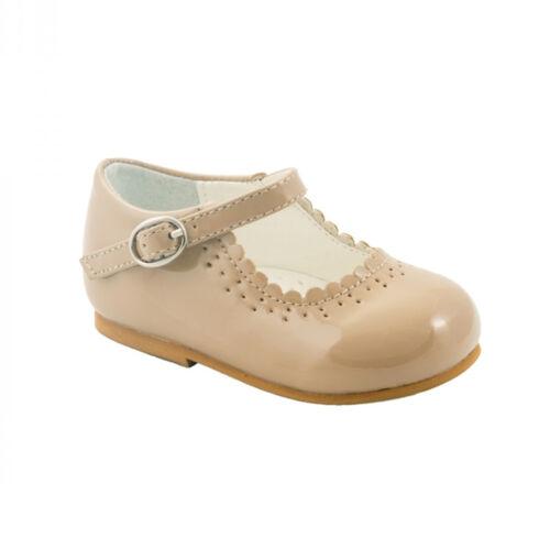 BABY TODDLER GIRL CAMEL PATENT SPANISH PARTY DRESS WEDDING WALKING SHOES UK 2-8