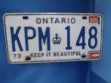 ONTARIO  LICENSE PLATE 1973 1984 1982 STICKER KPM 148 CANADA VINTAGE SHOP SIGN