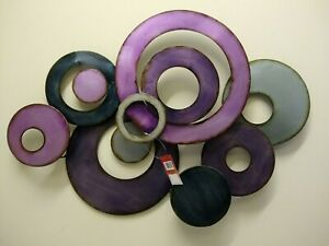 Details About Contemporary Metal Wall Art Decor Picture Purple And Silver Abstract Discs