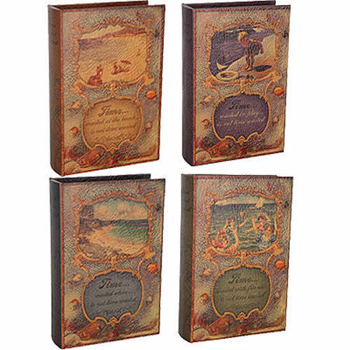 Wooden Book Box Faux Leather Cover Set Of 4 - 87124