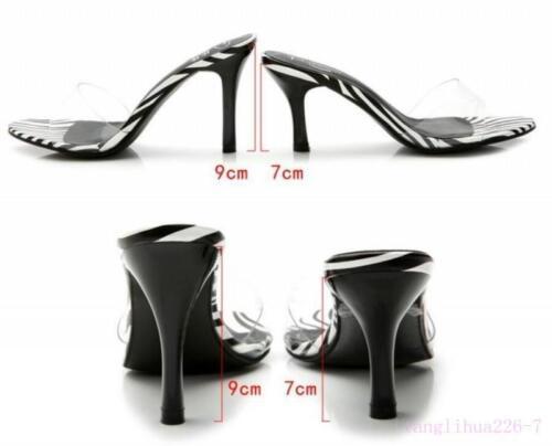 Womens Slingback Stilettos Slides Mules High Heel leather Sandal Slipper Shoes F