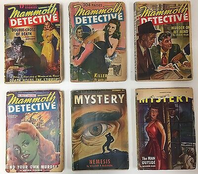 Lot of 6 Mammoth Detective/Mammoth Mystery Pulp Magazines (1943-47)