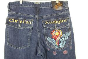 Christian-Audigier-Men-039-s-Denim-Blue-Jeans-Button-Fly-Dragon-SIZE-36