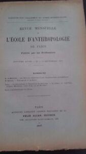 Rivista SCUOLA Antropologia 7 Eme Anni 1897 F.Alcan N° Ix ABE