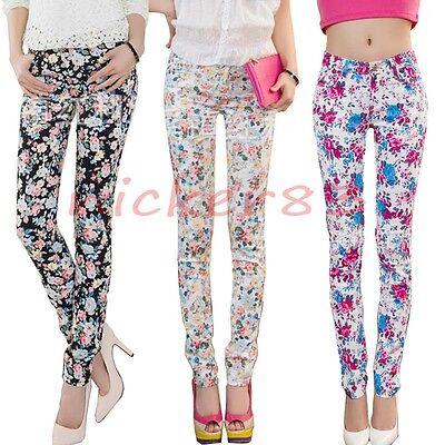 New Retro Floral Print Basic Cotton Slim Pencil Pants Pocket Denim Jeans Skinny