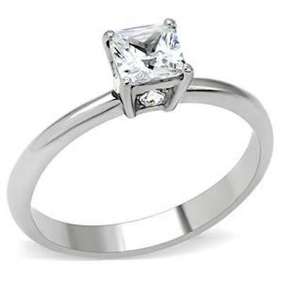 Stainless Steel Square Cut Cubic Zirconia Promise Ring FSH A1