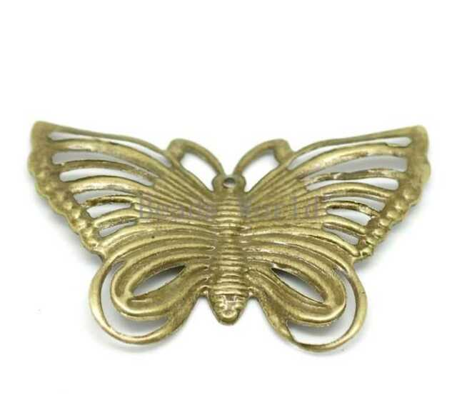 50 Bronze Tone Filigree Butterfly Charm Pendants Wraps Connector Findings