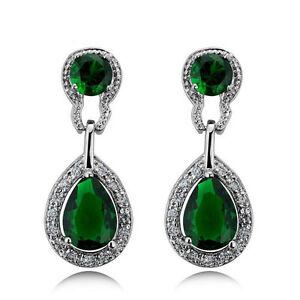 Image Is Loading Vintage Design Long Luxury Teardrop Silver Amp Emerald