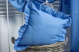 julia blau pastell kissen bezug volant 45x45 shabby chic landhaus kissenh lle ebay. Black Bedroom Furniture Sets. Home Design Ideas