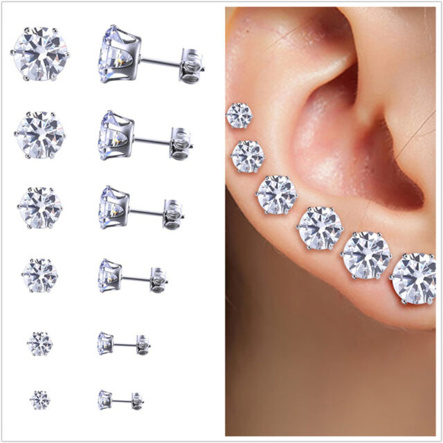 6 Pair Stainless Steel Round Womens Stud Earrings Cubic Zirconia Inlaid 3 8mm Hc