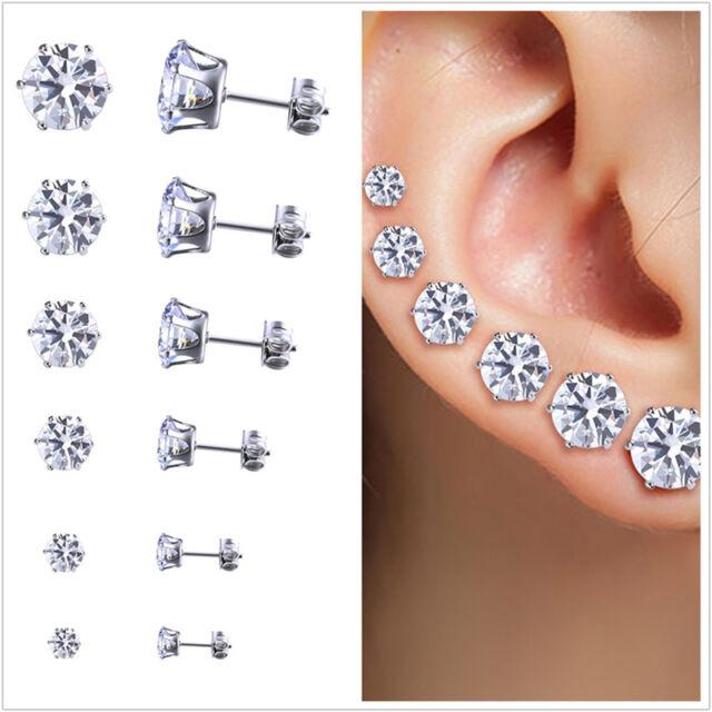 14K Rose Gold Finish CZ Stud Earrings Clear Blue CZ Stud Ear Stud 4mm To 8mm