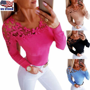 Womens-Lace-Long-Sleeve-T-Shirt-Ladies-Casual-Slim-Hollow-Out-Tee-Tops-Blouse-US