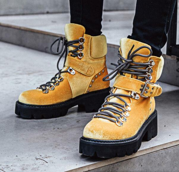 Ven a elegir tu propio estilo deportivo. Para mujeres Con Cordones Cordones Cordones botas Motocicleta De Combate Hebilla de Terciopelo Grueso Talón Zapatos Talla Uk  nueva marca